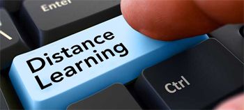 Image of Distance Learning caption on keyboard
