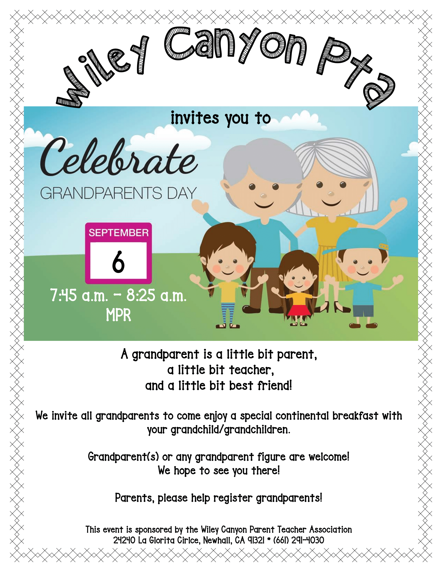 2019-20 PTA Grandparent's Day Flyer